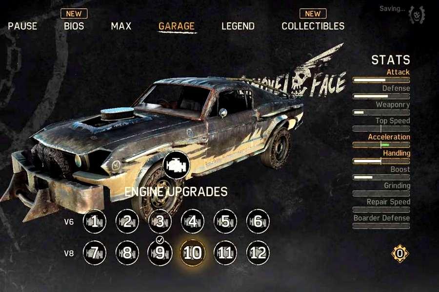 апгрейд автомобиля в Mad Max