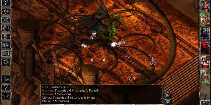 Baldur's Gate II Shadows Of Amn - игроки сражаются с Dragon