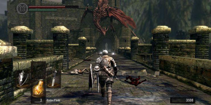 Dark Souls - Игрок сталкивается с драконом