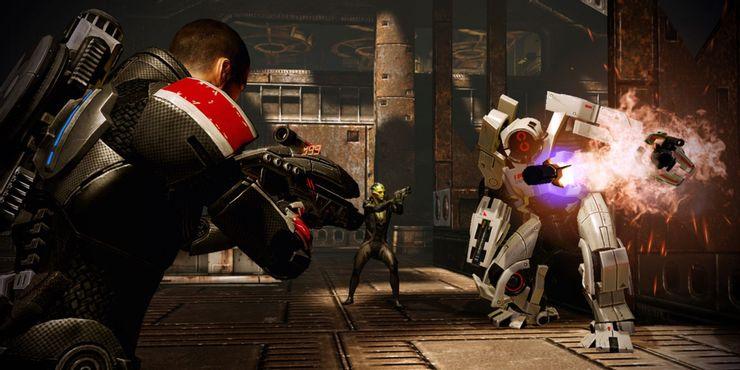 Mass Effect 2 - игрок сражается с роботом