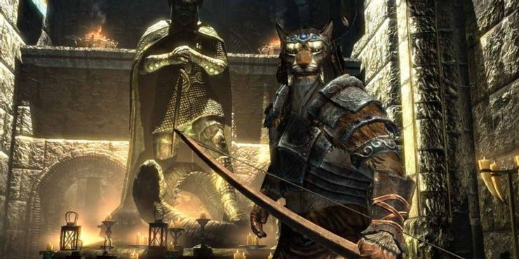 Skyrim - игрок в храме Талоса с натянутым луком