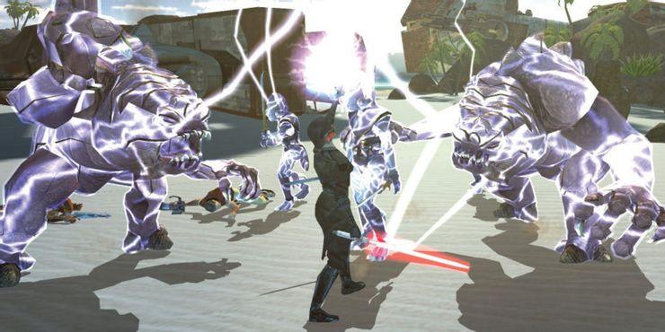 Star Wars Knights Of The Old Republic - игрок использует силовые молнии на противниках