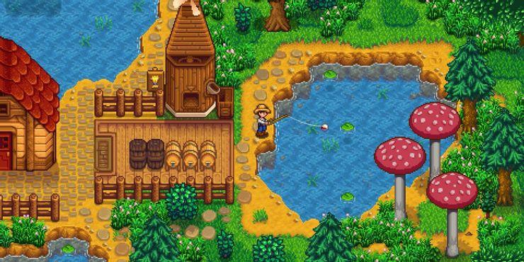 Stardew Valley - игрок ловит рыбу на ферме